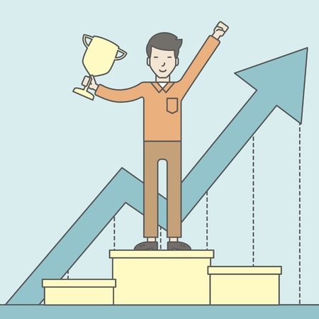 asian businessman: An asian businessman standing on the winning podium with trophy and arrow pointing upward as his success. Cheerful winner and leader concept. Vector line design illustration. Square layout. Illustration