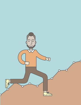 the caucasian: Cheerful caucasian businessman running along the growth graph. Vector line design illustration. Vertical layout with a text space.