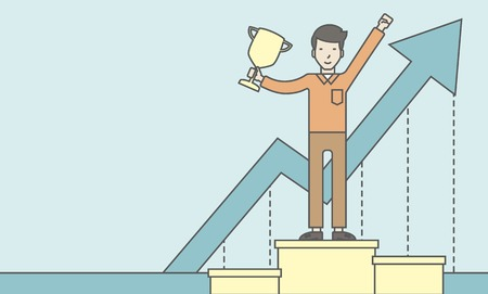 asian businessman: An asian businessman standing on the winning podium with trophy and arrow pointing upward as his success. Cheerful winner and leader concept. Vector line design illustration. Horizontal layout with a text space.