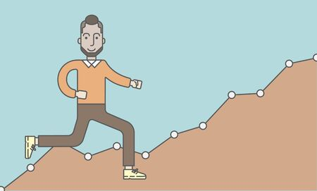 runner up: Cheerful caucasian businessman running along the growth graph. Vector line design illustration. Horizontal layout with a text space.
