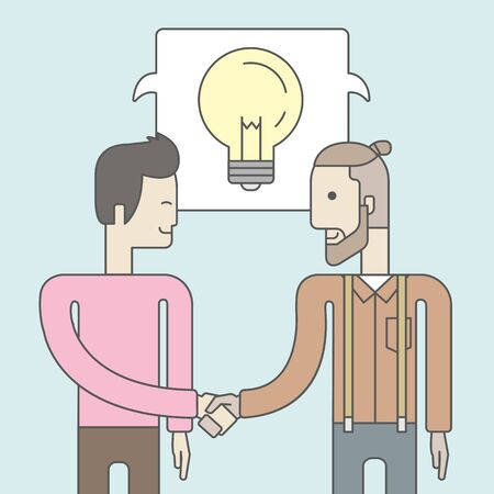 business deal: Two caucasian men standing facing each other handshaking for the successful business deal. Business partnership concept. Vector line design illustration. Square layout.