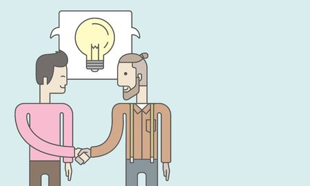 business deal: Two caucasian men standing facing each other handshaking for the successful business deal. Business partnership concept. Vector line design illustration. Horizontal layout with a text space. Illustration
