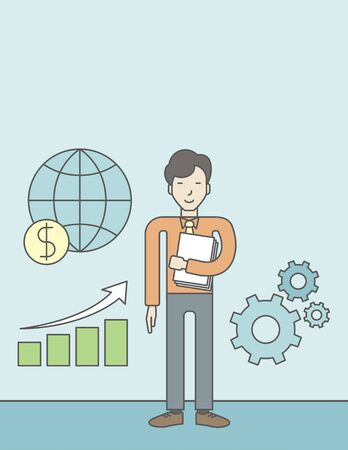 asian manager: An asian businessman standing beside growing chart. Successful business concept. Vector flat design illustration. Vertical layout with a text space. Illustration