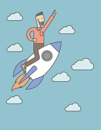 Un homme volant sur la fusée en levant la main en l'air. Démarrez concept d'entreprise. Ligne de Vector illustration de conception. Disposition verticale avec un espace de texte. Banque d'images - 45886529