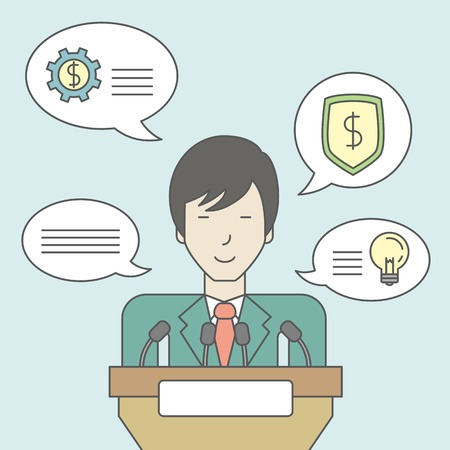 asian business meeting: An asian speaker standing behind a podium with microphones and giving a speech. Reporting concept. Vector line design illustration. Square layout.