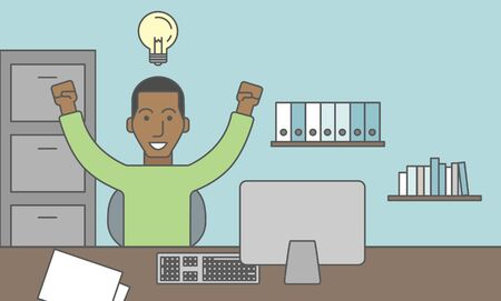 person computer: A black businessman working at the office with light bulb over his head. Successful business concept. Vector line design illustration. Horizontal layout with a text space.