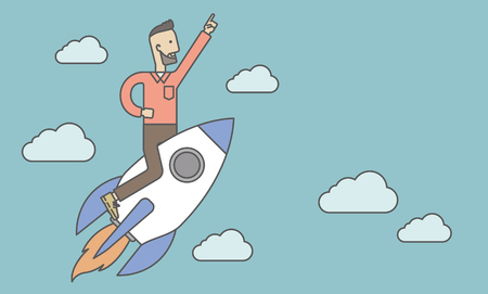 A man flying on the rocket raising his hand in the air. Start up business concept. Vector line design illustration. Horizontal layout with a text space. Ilustração