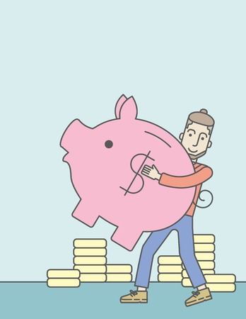 guy standing: A caucasian hipster man with beard holding a piggy bank. Vector line design illustration. Vertical layout with a text space.