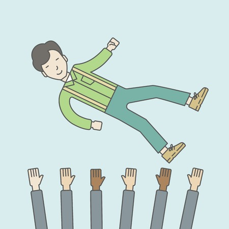 arms lifted up: An asian businessman get thrown into the air by coworkers during celebration. Successful business concept. Vector line design illustration. Square layout.