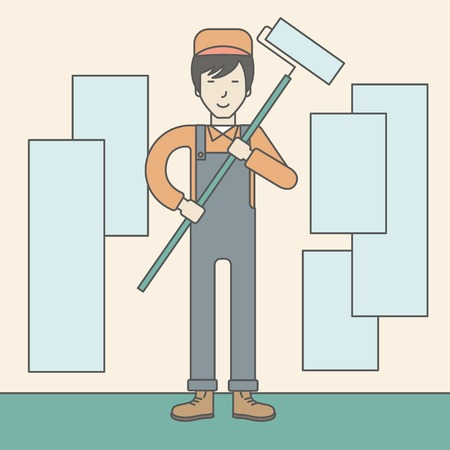 An asian window-cleaner holding roller on a stick. Vector line design illustration. Square layout. Stock Illustratie
