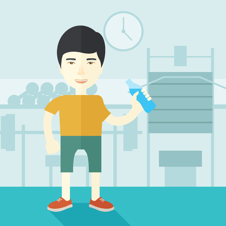 asian bodybuilder: An asian gentleman drinking water in the gym vector flat design illustration. Healthy, fitness concept. Square layout.