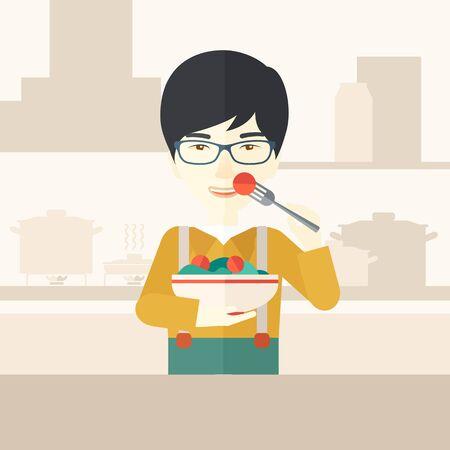 A smiling asian man in glasses eating salad vector flat design illustration. Healthy concept. Square layout. Illustration