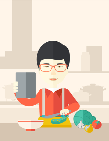 An asian man holding a digital tablet and cutting vegetables vector flat design illustration. Cooking technology concept. Vertical poster layout with a text space.