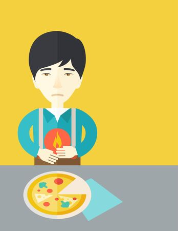 fire in the belly: A sick asian man with heartburn due to pizza holding hands on his stomach vector flat design illustration. Vertical poster layout with a text space.