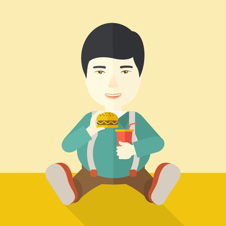 An asian fat man sitting on the floor while eating hamburger and drinking soda vector flat design illustration. Square layout. 向量圖像