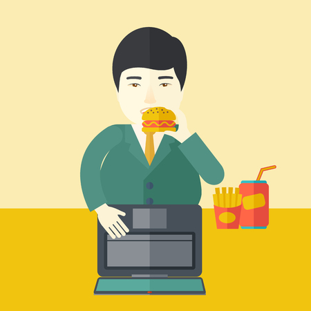 french ethnicity: An asian fat man standing in front of a laptop while eating hamburger vector flat design illustration. Square layout.