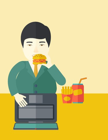 asian man laptop: An asian fat man standing in front of a laptop eating hamburger vector flat design illustration. Vertical poster layout with a text space. Illustration