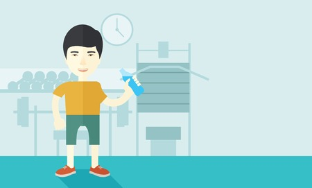 drink cartoon: An asian gentleman drinking water in the gym vector flat design illustration. Healthy, fitness concept. Horizontal layout with a text space for a social media post.