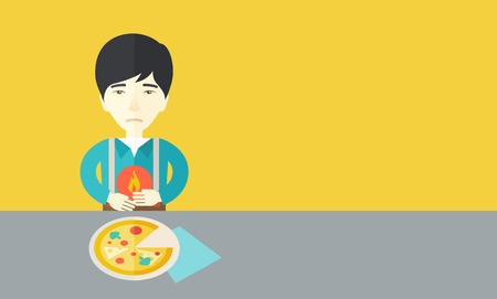 A sick asian man with heartburn due to pizza holding hands on his stomach vector flat design illustration. Horizontal layout with a text space for a social media post. Illustration