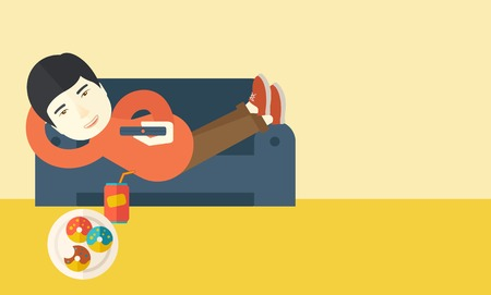 An asian man lying on a sofa holding a remote with three donuts on the plate and soda on the floor vector flat design illustration. Horizontal layout with a text space for a social media post.