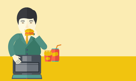 asian man laptop: An asian fat man with beard standing in front of a laptop eating hamburger vector flat design illustration. Horizontal layout with a text space for a social media post.