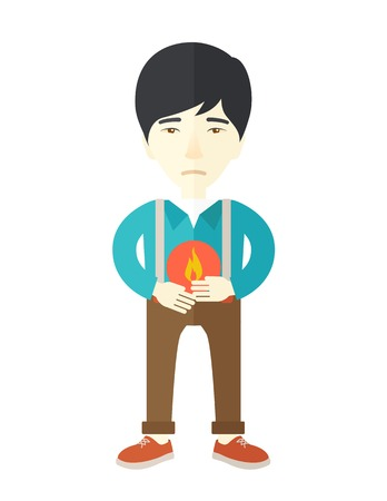gastroenteritis: A sick asian man with heartburn holding hands on his stomach vector flat design illustration isolated on white background. Vertical poster layout.