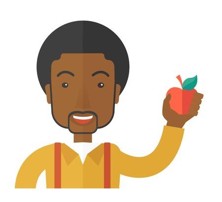 Een Afro-Amerikaanse man die een appel vector plat ontwerp illustratie op een witte achtergrond. Gezonde concept. Vierkante lay-out.
