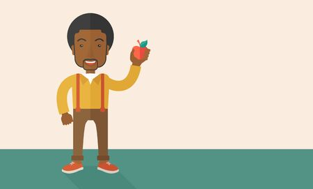 the fresh apple: An african-american man holding an apple vector flat design illustration. Healthy concept. Horizontal layout with a text space. Illustration