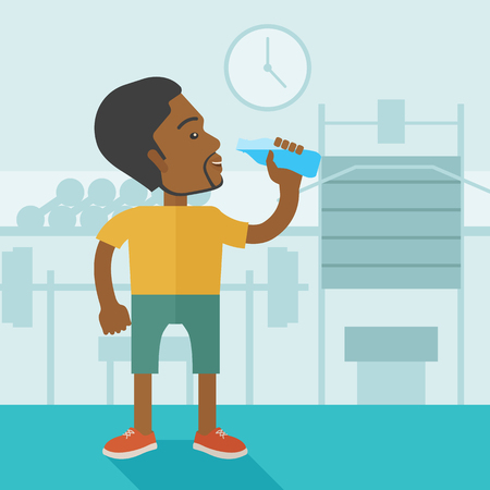 man drinking water: An african-american gentleman drinking water in the gym vector flat design illustration. Healthy, fitness concept. Square layout.