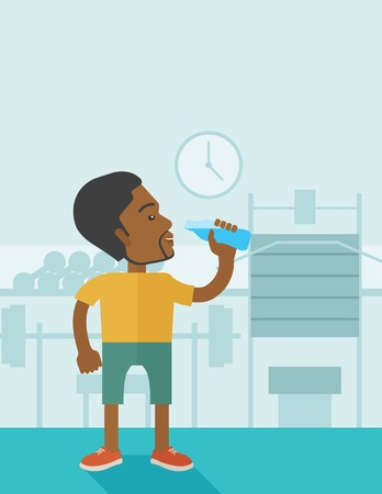 athlete cartoon: An african-american gentleman drinking water in the gym vector flat design illustration. Healthy, fitness concept. Vertical layout with a text space.