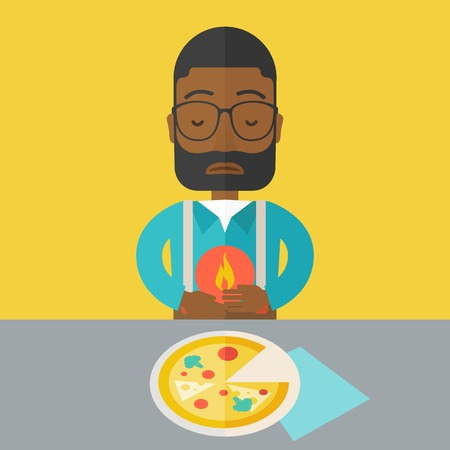 gastroenteritis: A sick african-american man with heartburn due to pizza holding hands on his stomach vector flat design illustration. Square layout.