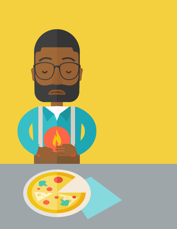 gastroenteritis: A sick african-american man with heartburn due to pizza holding hands on his stomach vector flat design illustration. Vertical layout with a text space.