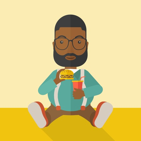 eating pastry: An african-american fat man with beard sitting on the floor while eating hamburger and drinking soda vector flat design illustration. Square layout.