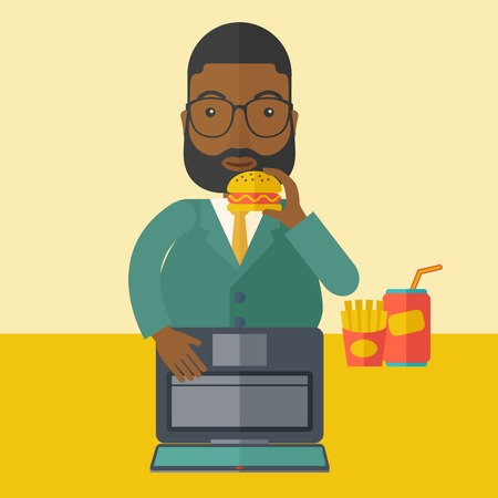 hamburger bun: An african-american fat man with beard standing in front of a laptop while eating hamburger vector flat design illustration. Square layout.