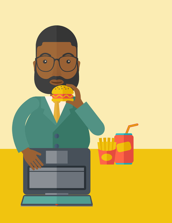 french ethnicity: An african-american fat man with beard standing in front of a laptop eating hamburger vector flat design illustration. Vertical layout with a text space. Illustration