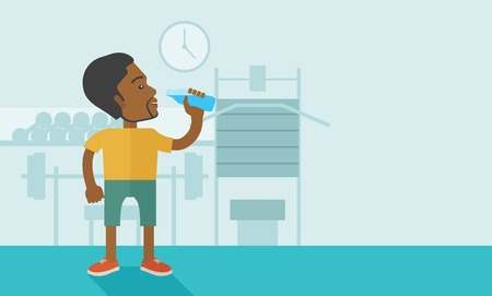 drink cartoon: An african-american gentleman drinking water in the gym vector flat design illustration. Healthy, fitness concept. Horizontal layout with a text space.