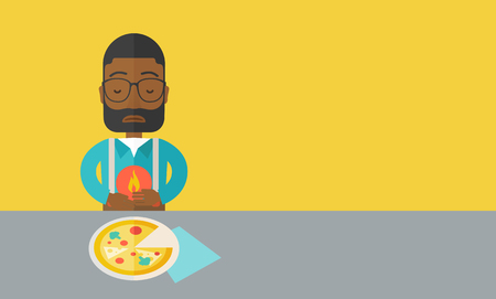 gastroenteritis: A sick african-american man with heartburn due to pizza holding hands on his stomach vector flat design illustration. Horizontal layout with a text space.