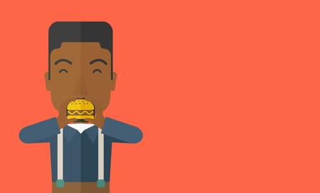 A happy african-american man eating hamburger vector flat design illustration. Horizontal layout with a text space. Çizim