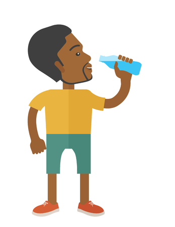 athlete cartoon: An african-american gentleman drinking water vector flat design illustration  isolated on white background. Healthy, fitness concept. Vertical layout.