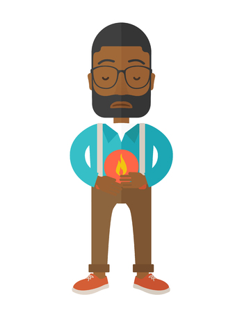 fire in the belly: A sick african-american man with heartburn holding hands on his stomach vector flat design illustration isolated on white background. Vertical layout. Illustration