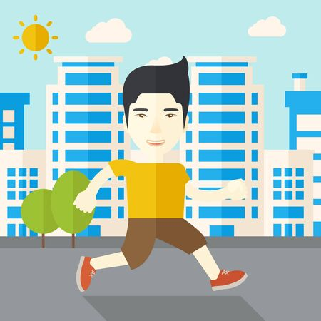 asian lifestyle: An asian man jogging on street vector flat design illustration. Lifestyle concept. Square layout. Illustration