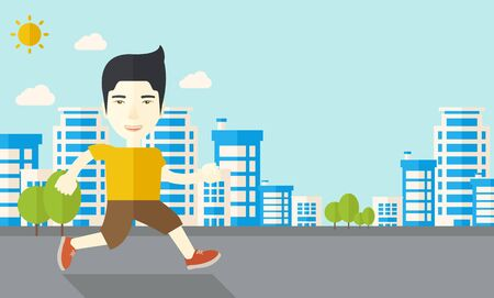 asian lifestyle: An asian man jogging on street vector flat design illustration. Lifestyle concept. Horizontal layout with a text space. Illustration