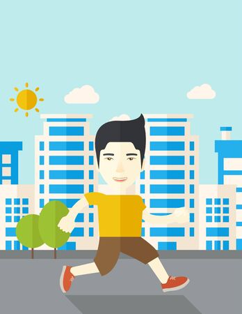 asian lifestyle: An asian man jogging on street vector flat design illustration. Lifestyle concept. Vertical layout with a text space. Illustration