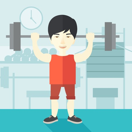 crossbar: An asian man lifting a barbell inside the gym vector flat design illustration. Sport concept. Square layout. Illustration