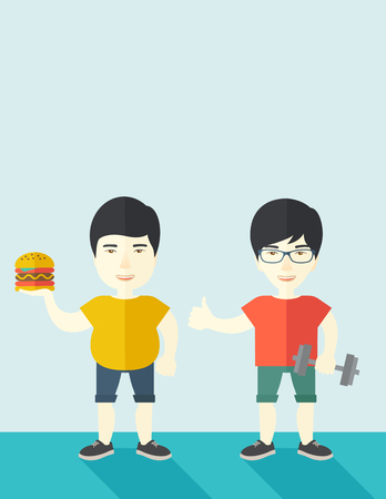 asian lifestyle: Thick asian man standing with hamburger while slim asian man standing with dumbbell vector flat design illustration. Lifestyle concept. Vertical layout with a text space. Illustration