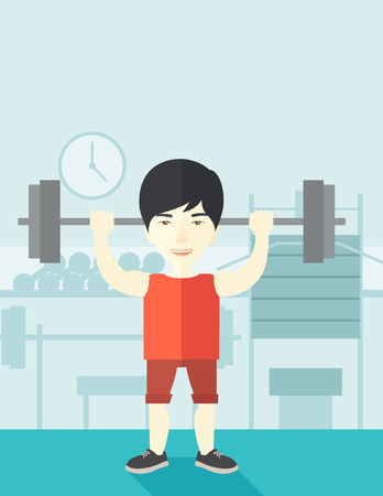 cartoon building: An asian man lifting a barbell inside the gym vector flat design illustration. Sport concept. Vertical layout with a text space.