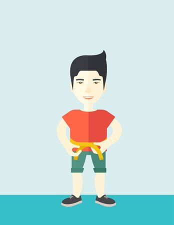 measures: A happy asian man measures his waist vector flat design illustration. Sport concept. Vertical layout with a text space.