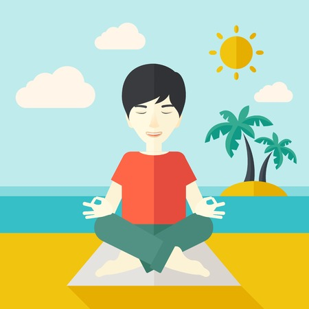 man meditating: An asian man meditating in lotus pose on the beach vector flat design illustration. Square layout. Illustration