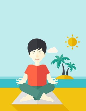 flexible: An asian man meditating in lotus pose on the beach vector flat design illustration. Vertical layout with a text space. Illustration