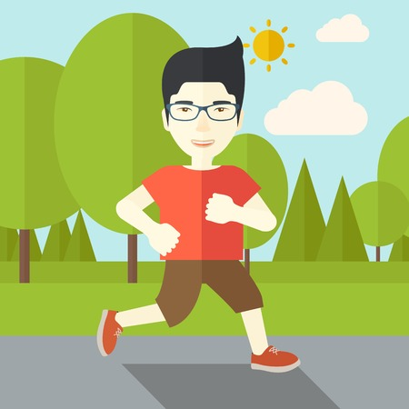 asian lifestyle: An asian man in glasses jogging in the park vector flat design illustration. Lifestyle concept. Square layout.
